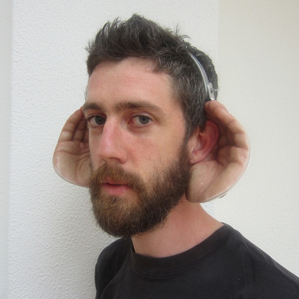 Ciaran wearing Handy Ears prototype
